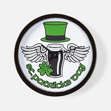 st. ptaricks day beer hat wings shamroc Wall Clock