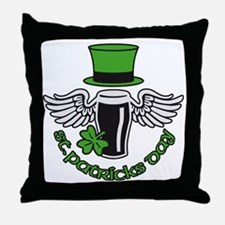 st. ptaricks day beer hat wings shamr Throw Pillow
