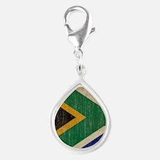 Vintage South Africa Flag Silver Teardrop Charm
