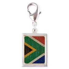 Vintage South Africa Flag Silver Portrait Charm