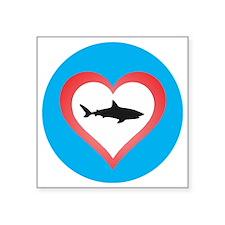 "Love Sharks Square Sticker 3"" x 3"""