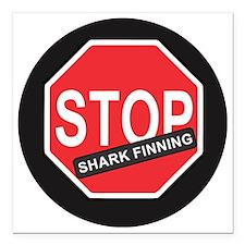 "Stop Shark Finning Square Car Magnet 3"" x 3"""