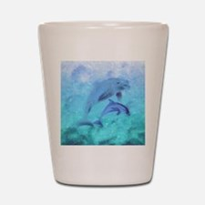 Painted Dolphins Shot Glass