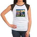 St Francis & Schnauzer (#5) Women's Cap Sleeve T-S