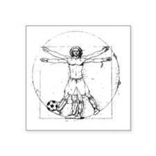 "Da Vinci Soccer Square Sticker 3"" x 3"""