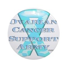 Ovarian Cancer Support Army Round Ornament