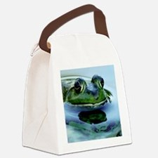 Frog Watching you Watching Me Canvas Lunch Bag