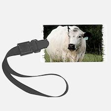 British White Cow at Pasture Luggage Tag
