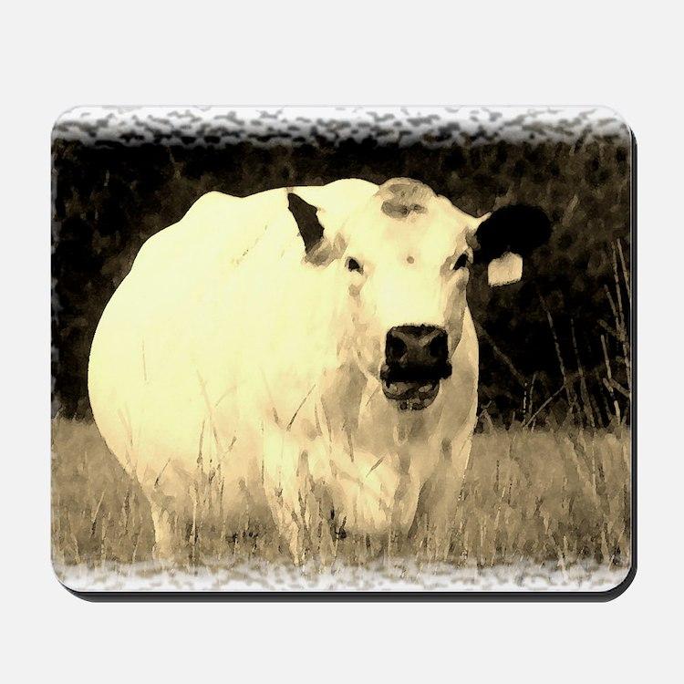 British White Cow - Sepia Color Mousepad