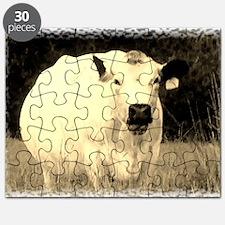 British White Cow - Sepia Color Puzzle