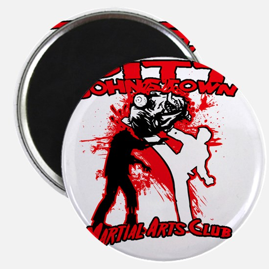 Red zombie fighting logo Magnet