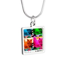 Kyla Loves Furball Silver Square Necklace