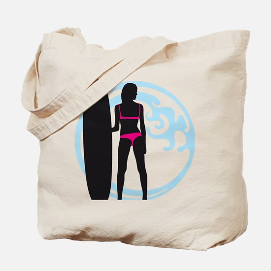 surfer wave board star beach babe sexy gi Tote Bag