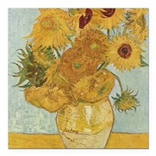 """Van Gogh Sunflowers for  Square Car Magnet 3"""" x 3"""""""