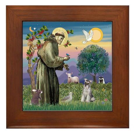 St Francis & Schnauzer (#5) Framed Tile