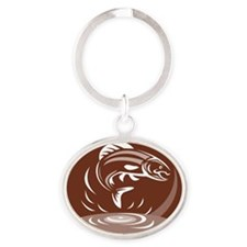 trout fish jumping retro Oval Keychain