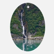 Glacier Waterfall Oval Ornament