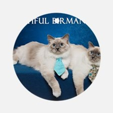 Birman Cat Calendar Round Ornament