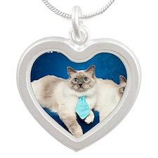 Birman Cat Calendar Silver Heart Necklace