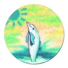 Dolphin Painting Round Car Magnet