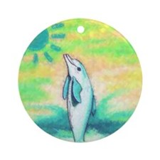 Dolphin Painting Round Ornament