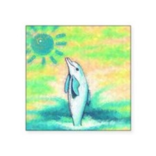 """Dolphin Painting Square Sticker 3"""" x 3"""""""