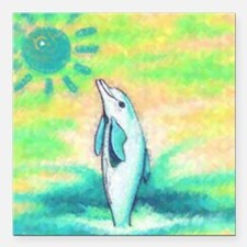 """Dolphin Painting Square Car Magnet 3"""" x 3"""""""