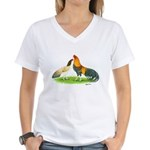 Blue Red Cubalayas Women's V-Neck T-Shirt