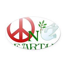 Peace on earth Oval Car Magnet