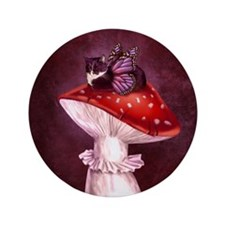 "Mushroom Fairy Cat 3.5"" Button"