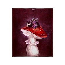 Mushroom Fairy Cat Throw Blanket