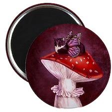 Mushroom Fairy Cat Magnet