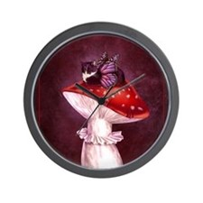 Mushroom Fairy Cat Wall Clock