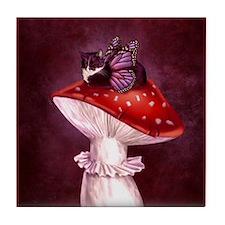 Mushroom Fairy Cat Tile Coaster