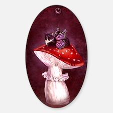 Mushroom Fairy Cat Sticker (Oval)