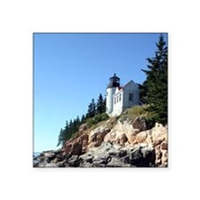 "Bass Harbor Light Square Sticker 3"" x 3"""