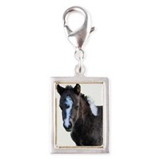 Black & White Filly Silver Portrait Charm