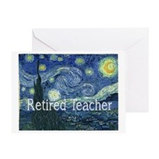 Retired TEacher Van Gogh Blanket Greeting Card