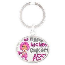 - Nana Kicked Breast Cancer 42 Oval Keychain