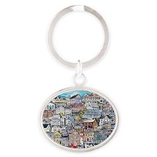 cape may cottages Oval Keychain