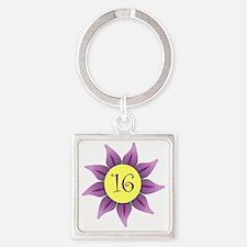Flower Power Sweet 16 Earrings Square Keychain
