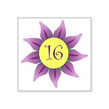 """Flower Power Sweet 16 Earri Square Sticker 3"""" x 3"""""""