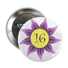 """Flower Power Sweet 16 Earrings 2.25"""" Button"""