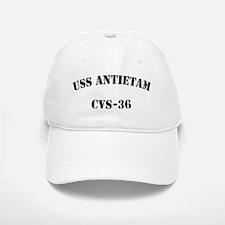 uss antietam cvs black letters Baseball Baseball Cap