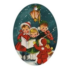 Vintage Christmas children Oval Ornament
