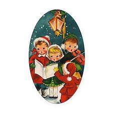 Vintage Christmas children Oval Car Magnet