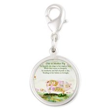 Ode to Mother Pig Silver Round Charm
