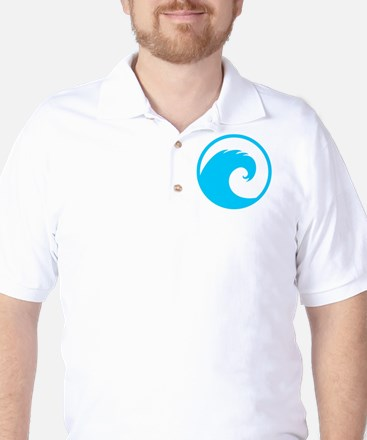 Ocean Wave Design Golf Shirt