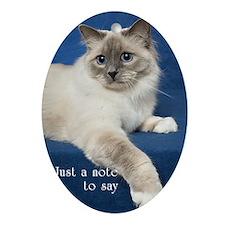 Birman Cat Note Card Oval Ornament