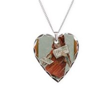 Vintage Girl with cape Necklace Heart Charm